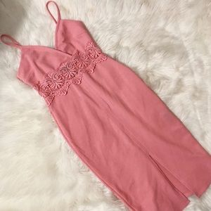 Pink midi lace detailed dress Easter